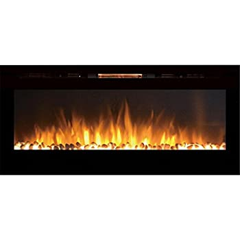 Gibson Living GL2050WS Sydney 50 Inch Pebble Recessed Pebble Wall Mounted Electric Fireplace