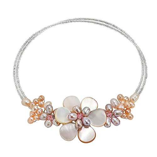 AeraVida Gradual Flower Pink Mother of Pearl & Cultured Freshwater Pink Pearl Cluster Wrap Choker Necklace