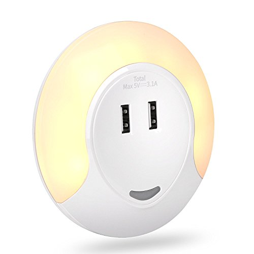 LED Night Light, Reaportus Dual Port USB Charger Wall Plate Lights Cordless Smart Motion Sensor, Apply to Baby Room Bedroom Hallway Kitchen Bathroom Travel - Warm White by Reaportus