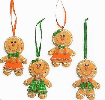 glittery gingerbread big head christmas tree ornaments 4 by oriental trading company