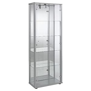 Silver Double Glass Door Display Cabinet with 4 Moveable