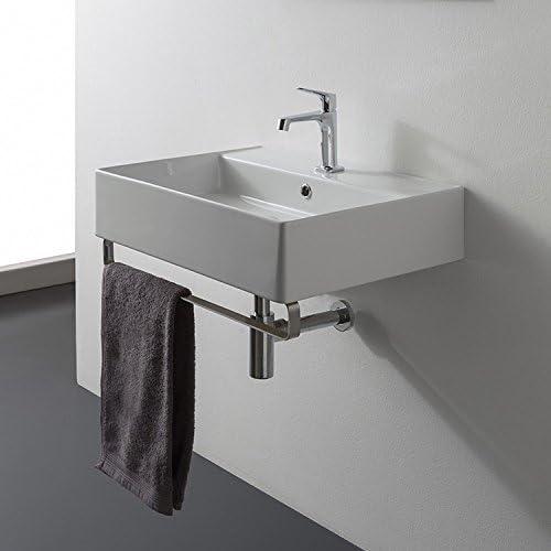 Scarabeo 8031 R-60-TB-One Hole Teorema Rectangular Wall Mounted Ceramic Sink with Polished Chrome Towel Bar, White