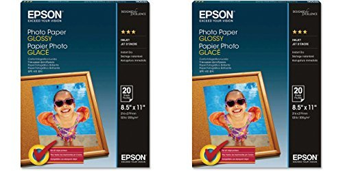 Epson Glossy Photo Paper, White, Letter, 20 Sheets, 2 Pack