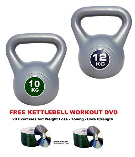 UK Fitness Kettlebell Strength Training Kettlebells 2kg 4kg 6kg 8kg 10kg 12kg Weights Home Gym INCLUDES KETTLEBELL DVD
