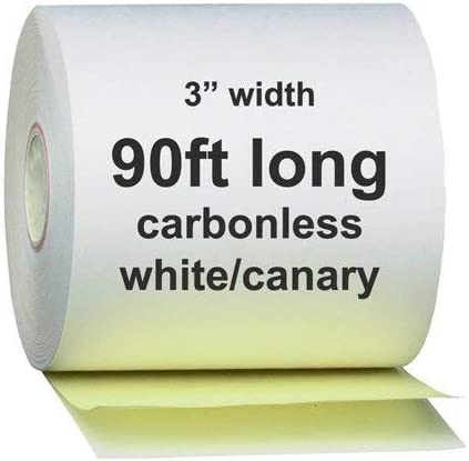 """AM-Ink Two Ply Carbonless POS Receipt Paper Rolls 3"""" x 90' 2-Ply White/Canary - 50 Rolls"""