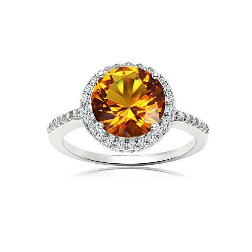 - Ice Gems Sterling Silver Simulated Citrine and Cubic Zirconia Round Halo Ring, Size 8