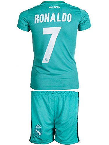 84ccd4b48 Real Madrid  7 Ronaldo 2017   2018 Away(3rd - green) - Kids Jersey   Shorts  - Youth Sizes