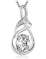 Swarovski Elements 925 Sterling Silver Pendant Necklace for Females Women Ladies Girl friend Gift JRosee Jewelry 471