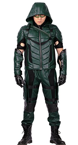 Green Arrow Costume Mask with Quiver for Adult Halloween Cosplay (X-Large)