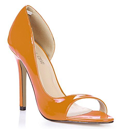 da Scarpe Alto Peep Donna Sexy pearl Moda CHMILE Pompe Partito Arancione Toe Tacco CHAU a Spillo w1HSES