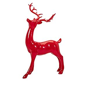 "37.75"" Classical Crisp Red Playful Decorative Standing Reindeer Sculpture"