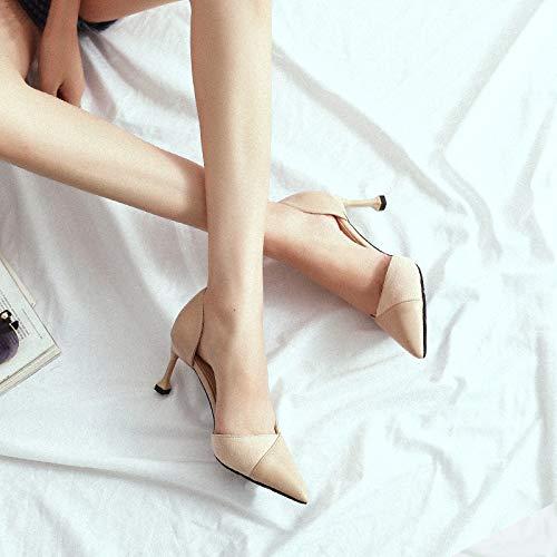 tacón De Mujer De Hollow Individuales de Negro Boca 37 Tacón Baja PU De Black Baotou Zapatos Acentuados Mujer alto Sandalias Alto Grueso Yukun Zapatos zapatos con Zapatos q0Y6REn6
