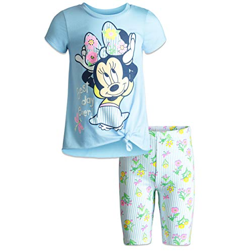- Disney Minnie Mouse Toddler Girls' High-Low T-Shirt & Bike Shorts Set (Fairy Blue, 4T)