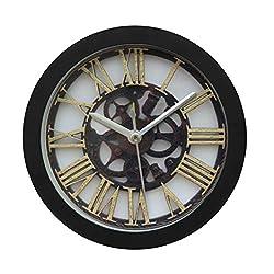 FIN86 Silent Alarm Clock, Vintage Roman numerals Portable Clock Modern Graceful Bell Desk Creative Digital Alarm Quartz Clock Living Room Bedroom (Black)