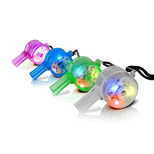 Flashing Light Up LED Party Whistles with Lanyard (Set of 24)
