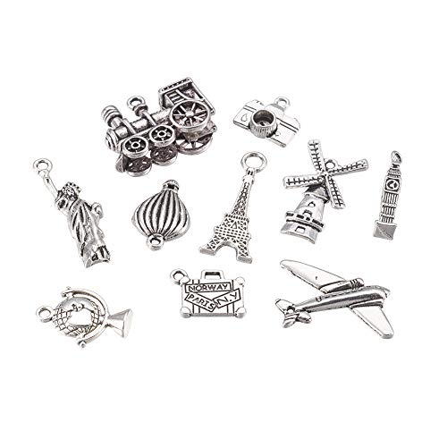 Kissitty 30Pcs Antique Silver Travel Theme Mixed Charms Collection 10 Styles Tibetan Metal Train Airplane Tower Balloon Pendants for DIY Jewelry Craft Making from Kissitty