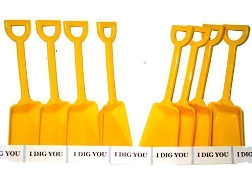 (Construction Party Small Toy Plastic Sand Shovels Yellow, 12 Pack, 7 Inches Tall, 12 I Dig You Stickers)