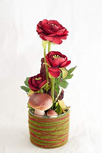 Centro de mesa redondo con ranúnculo rojo oscuro+setas-decoración ...