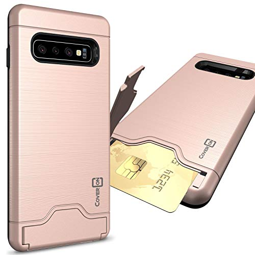 CoverON Samsung Galaxy S10 Case with Card Holder - Protective Hybrid Phone Cover with Credit Card Slot and Kickstand with Faux Brushed Metal Look - SecureCard Series - Rose Gold