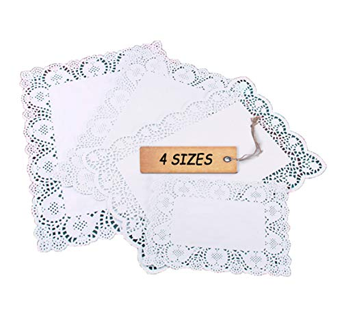 SCHOLMART Floral Rectangular Doilies Paper for a Tea Party, Birthday or Baking, Embossed Pattern, Small Medium Large 8.8