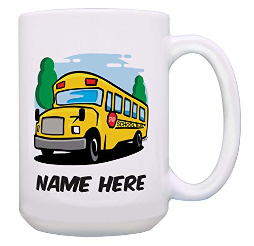 (Bus Driver Gifts Personalized Name Cup School Bus Cup Custom Gift 15-oz Coffee Mug Tea Cup White)