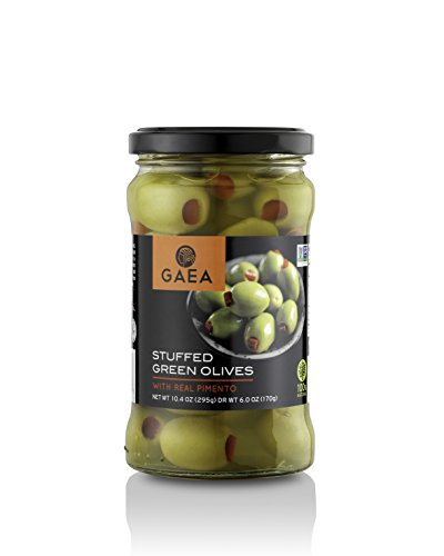 Gaea Natural Pimento Stuffed Olives, Pack of 8-6.0 Ounce Glass Jar ...