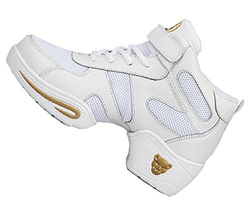 VECJUNIA Ladies Summer High Top Middle Heel Sneakers Modern Agility Jazz Mesh Dance Shoes White 6Y7AWf1