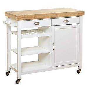 Target Marketing Systems Hudson Storage Kitchen Cart, White/Natural