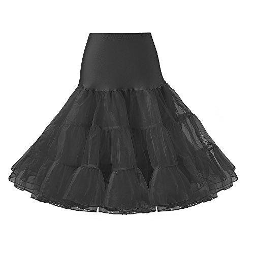 (Lidory Ridory Womens 1950s Vintage Petticoat Skirts Crinoline Underskirt Slip Tutu (L, Black))