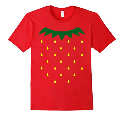 [Mens Strawberry Halloween Costume Simple Yellow Seeds T-shirt Large Red] (Quick And Easy Halloween Costumes To Make At Home)