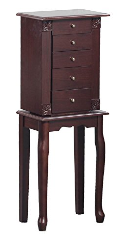- 34 in. Jewelry Armoire in Walnut Finish