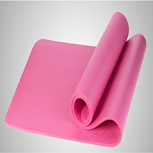 Fitwhiz Extra Thick High Density NBR Comfort Foam Exercise Yoga Mat for Pilates, Non-Slip, All-Purpose, Longer & Wider Than Other Yoga Mats, Size: 72 X 24 Inch (Pink)