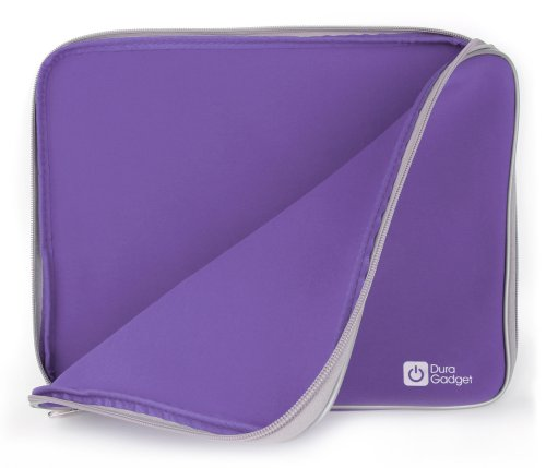 DURAGADGET Purple Travel Water Resistant & Shock Absorbent Neoprene Laptop Sleeve with Dual Zips Compatible with The Lenovo Ideapad 110 15'' | Ideapad 305 15.6'' Laptop by DURAGADGET (Image #1)