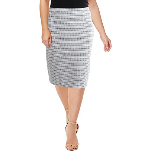 Kasper Women's Plus Size Stripe Knit Jacquard Skirt, Ivory/Black, 18W