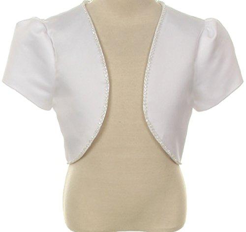Bridal Satin Rhinestones Jacket Shrug Big Girl Flower Girl Dress Communion Bolero (00TR3) White 10 (Girls Bolero Dress)