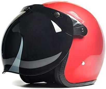 NJ ヘルメット- 電動バイクの機関車のヘルメットの男性と女性ハーレーのレトロな4シーズンのライト半カバーのブラウンミラーのヘルメット (色 : 赤, サイズ さいず : 25x23x25cm)