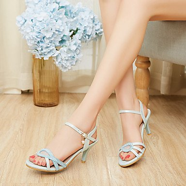 KYDJ @ Mujer-Tacón Stiletto-Otro-Sandalias-Vestido Informal Fiesta y Noche-PU-Azul Rosa Blanco Beige White