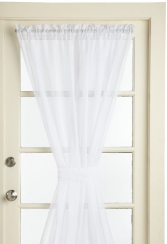 LORRAINE HOME FASHIONS Reverie Snow Voile Tailored Door Panels, 60 by 45-Inch, White (Door Rod Pocket Curtain Panel)