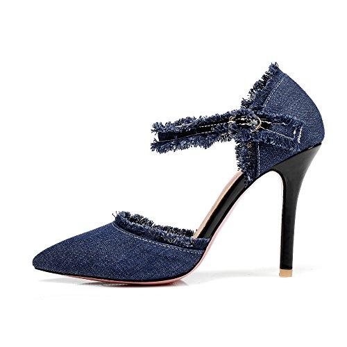 Cheville Moyen Bleu Bride Talon Sandales Bout Journee Aiguille Femmes a UH Pointu Elegantes Pour xZqOI0w