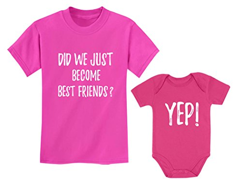 - Big Brother/Sister Little Brother/Sister Set Gift for Siblings Baby & Toddler Child Pink 2T / Baby Wow Pink NB (0-3M)