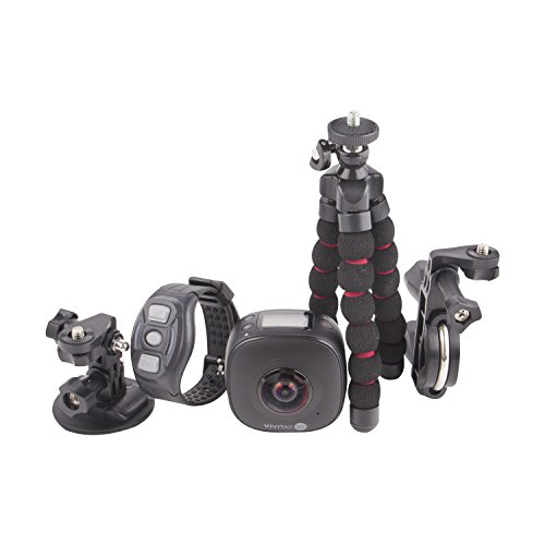 Vivitar DVR-978HD 360 Degree High Definition High Resolution 16 MP Dual Lens Portable Digital Action Camera with Universal Mount Bicycle Mount and Tripod, Black