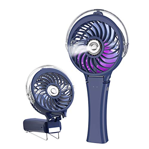 HandFan Handheld Misting Fan with 7 Color LED Nightlights Portable Mist Fan 180° Foldable USB/Battery Operated Mister Fan Rechargeable Water Spray Fan for Party Travel Wedding (Royal Blue)