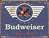 Budweiser 1936 Logo Blue Distressed Retro Vintage Tin Sign