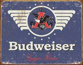 Budweiser-1936-Logo-Blue-Distressed-Retro-Vintage-Tin-Sign