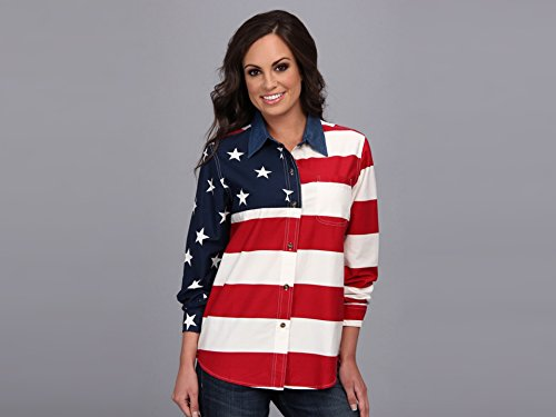 Roper Women's L/S Stars and Stripes Pieced Flag Red 2 Button-up Shirt MD (Roper Stars)