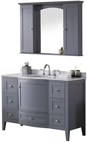 Blossom Rome 48 Single Bathroom Vanity with White Carrara Marble Top Oval Under Mount Sink with Mirror Charcoal Grey 002 48 15