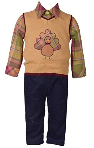 Bonnie Jean 3 Piece Sweater Vest with Thanksgiving Turkey Applique Shirt and Pants Set 2T (Sweater Vest Piece 3 Shirt)