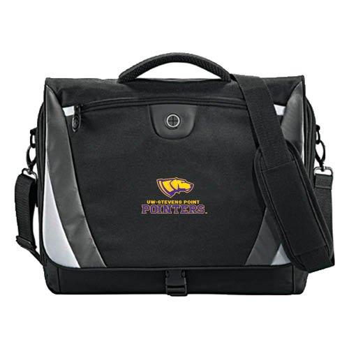 UW Stevens Point Slope Black/Grey Compu Messenger Bag 'Official Logo' by CollegeFanGear
