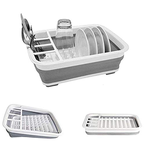 Collapsible Dish Drying Rack with Drainer Board Set Portable Dish Drainers for Small Kitchen Camper RV Caravan Travel Trailer (Grey)