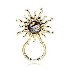 PANGRUI Abalone Paua Shell Brooch Sunflower Sun Magnetic Eyeglass Holder,Sunglasses Hanger,Makes You Energetic
